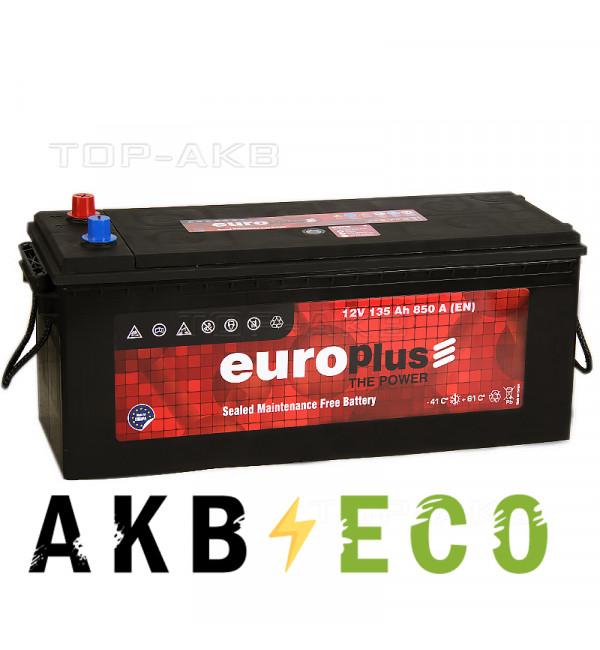 Автомобильный аккумулятор Europlus 135 евро 850A (513x189x223)