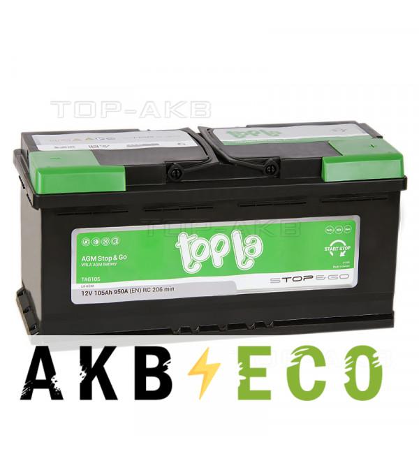 Автомобильный аккумулятор Topla AGM Stop-n-Go 105R (950A 393x175x190) 114105