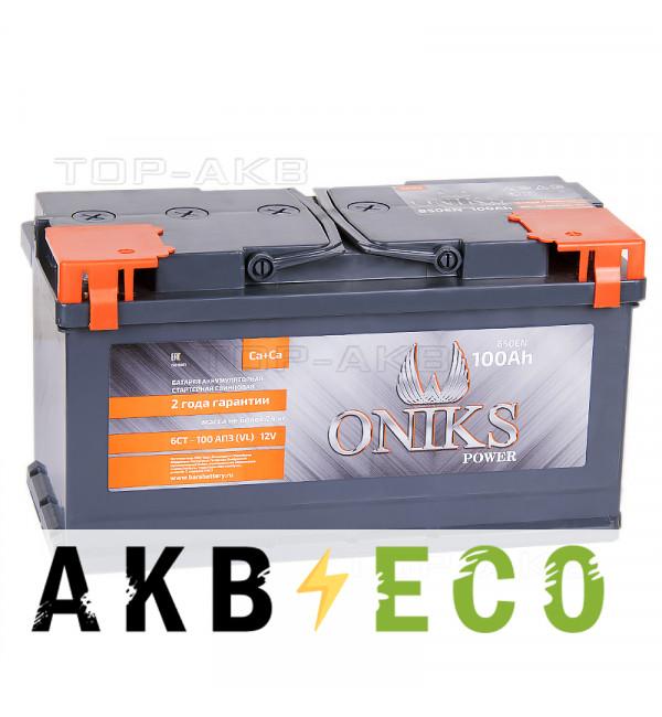 Автомобильный аккумулятор ONIKS 100R 850A (353x175x190)