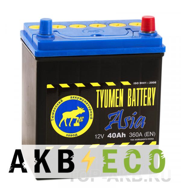 Автомобильный аккумулятор Tyumen Battery Asia 40 Ач обр. пол. 360A (187x127x227)
