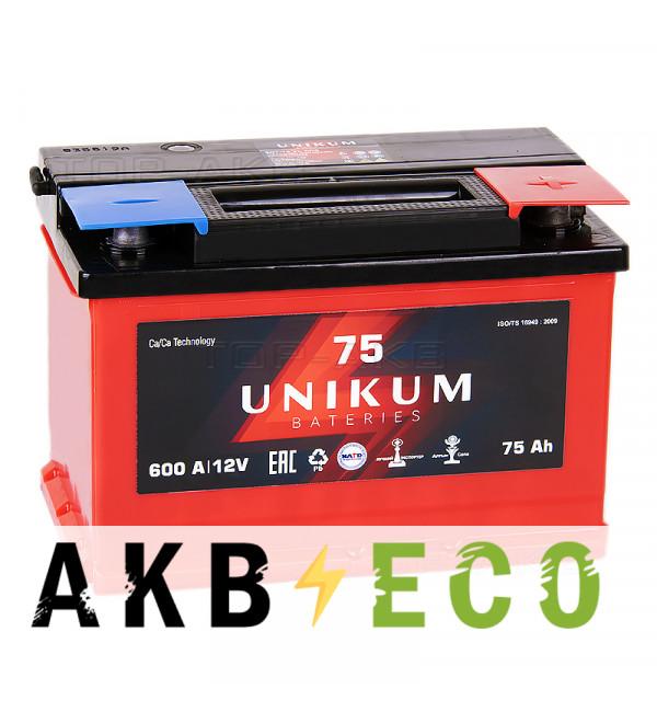 Автомобильный аккумулятор UNIKUM 75R 600A (278x175x190)