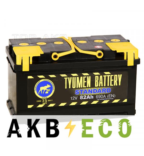 Автомобильный аккумулятор Tyumen Battery Standard 82 Ач обр. пол. низкий 720A (315x175x175)
