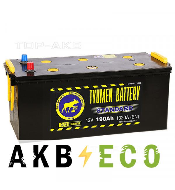 Грузовой аккумулятор Tyumen Battery Standard 190 Ач прям. пол. 1320A (518x228x238)