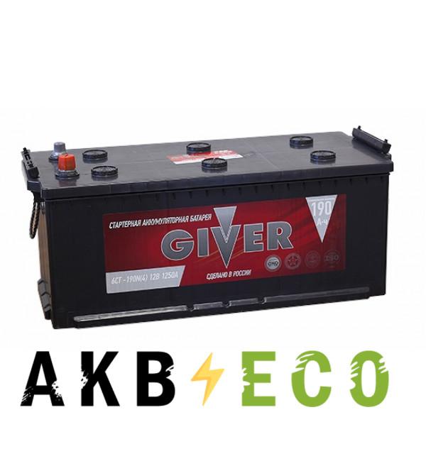 Грузовой аккумулятор Giver 190 рус (1250A 516x223x223)