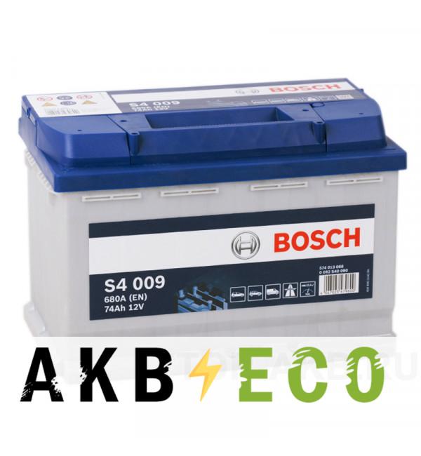 Автомобильный аккумулятор Bosch S4 009 74L 680A 278x175x190