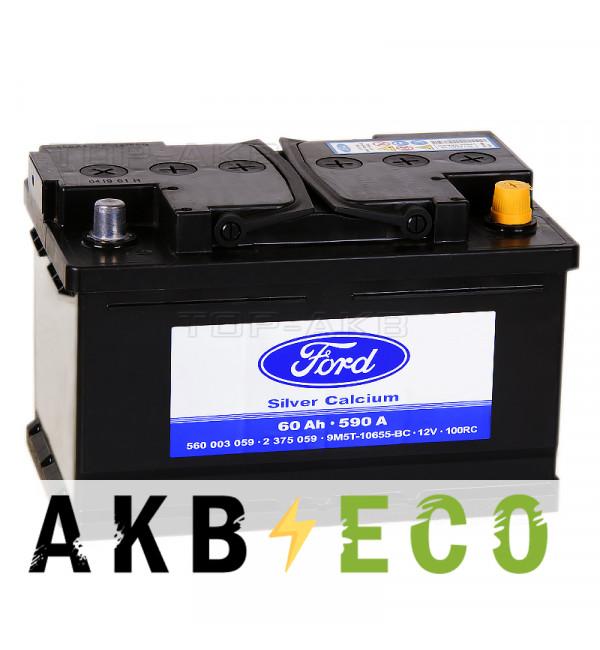 Автомобильный аккумулятор Ford Standart 60 Ач обратная пол. 590А (278x175x175) 2375059