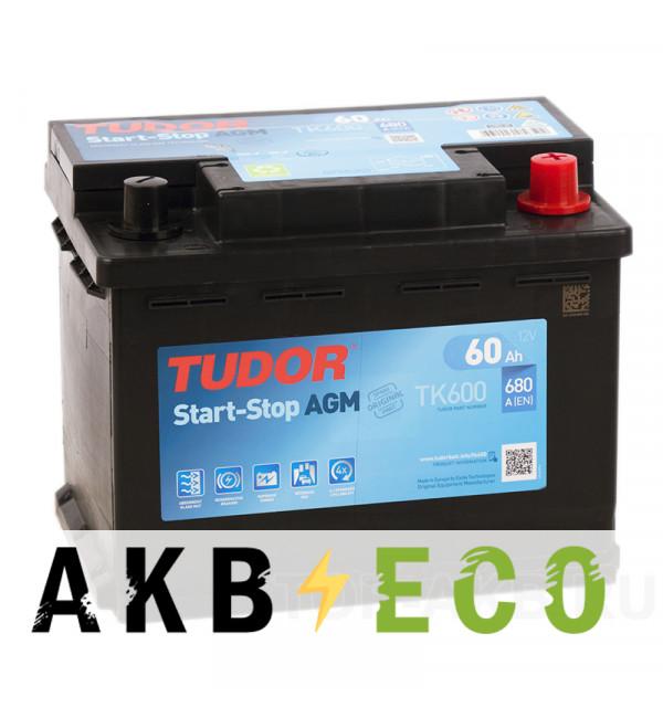 Автомобильный аккумулятор Tudor Start-Stop AGM 60R (680A 242x175x190) TK600