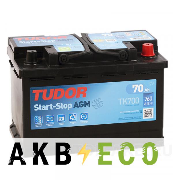 Автомобильный аккумулятор Tudor Start-Stop AGM 70R (760A 278x175x190) TK700