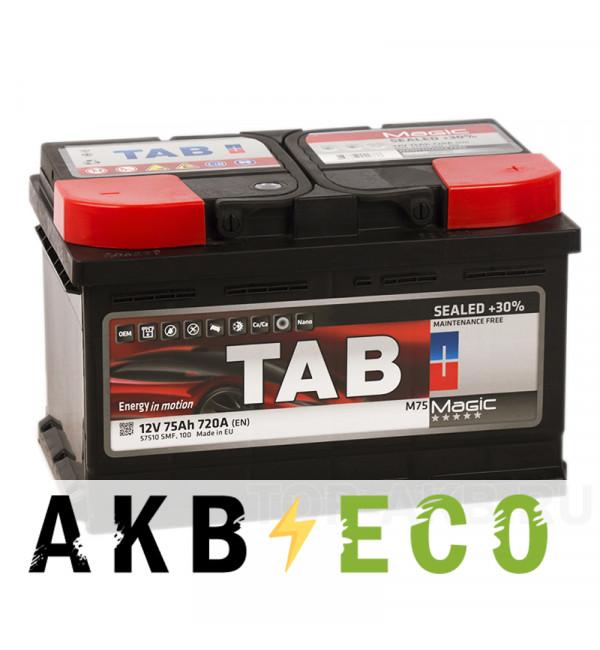 Автомобильный аккумулятор Tab Magic 75R низкий (700A 278x175x175) 189072 57510