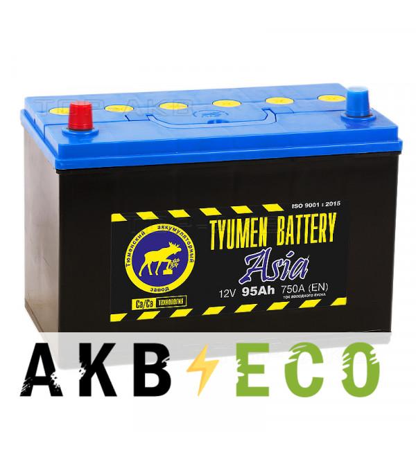 Автомобильный аккумулятор Tyumen Battery Asia 95 Ач прям. пол. 750A (302x173x225)