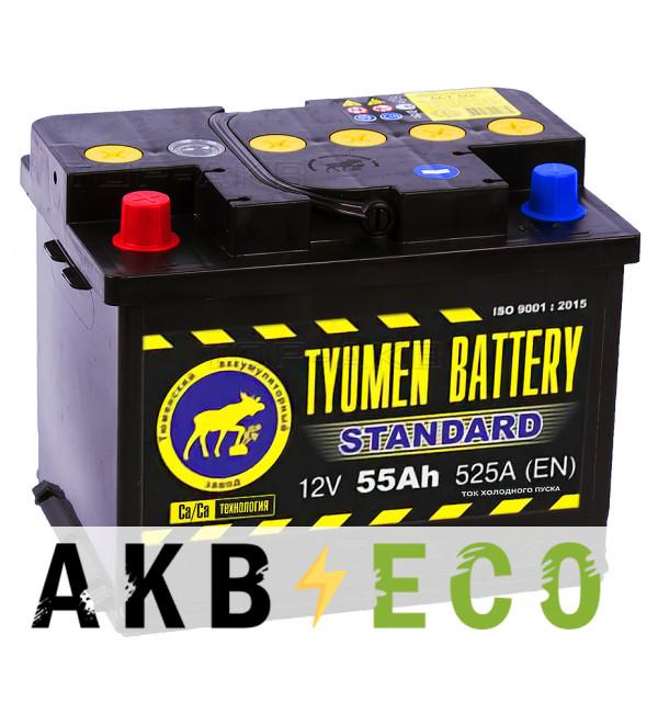 Автомобильный аккумулятор Tyumen Battery Standard 55 Ач прям. пол. 525A (242x175x190)
