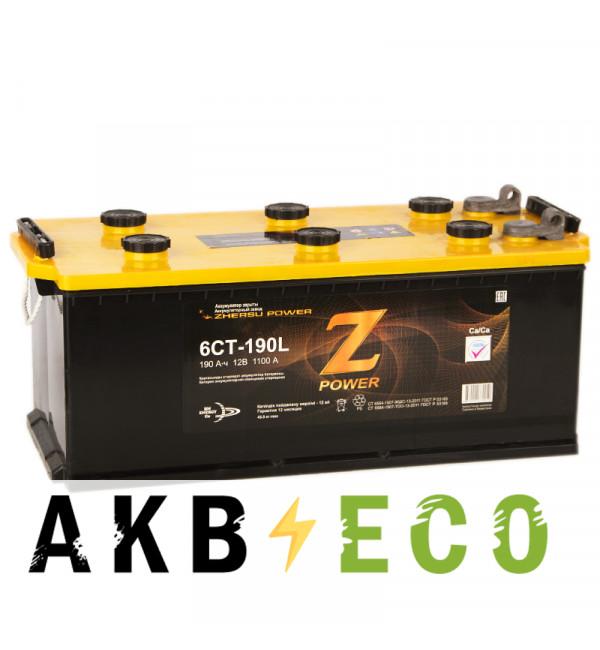 Грузовой аккумулятор Z-Power 190 рус (клеммы под болт) 1100А 516x223x223