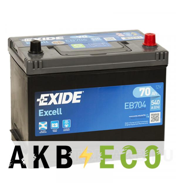 Автомобильный аккумулятор Exide Excell 70R (540A 261x173x225) EB704
