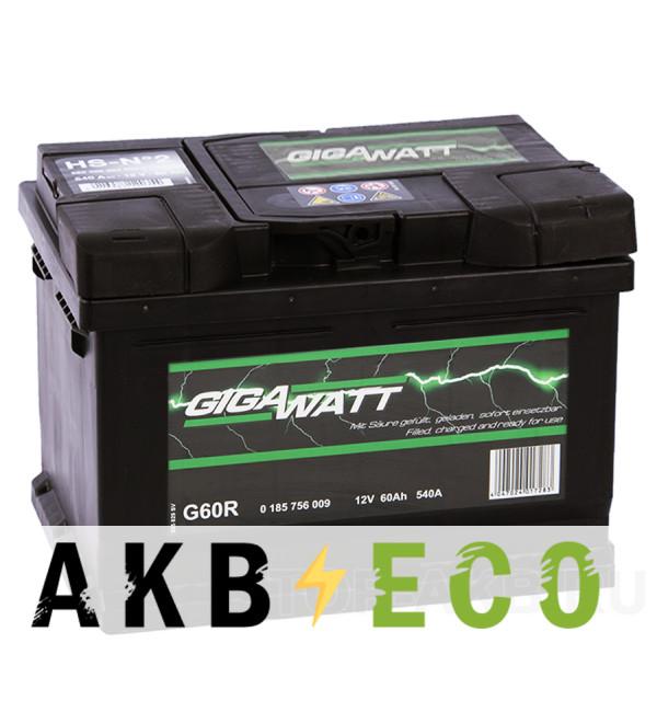 Автомобильный аккумулятор Gigawatt 60R низкий 540A (242x175x175)