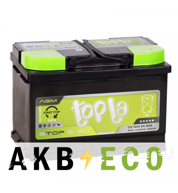 Автомобильный аккумулятор Topla AGM Stop-n-Go 70R (760A 278x175x190) 114070