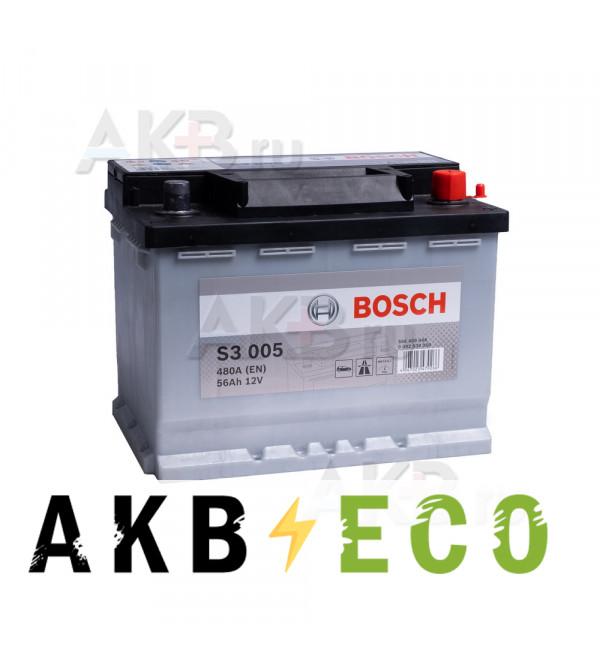 Автомобильный аккумулятор Bosch S3 005 56R 480A 242x175x190