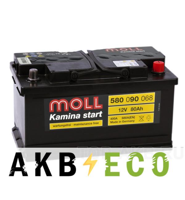 Автомобильный аккумулятор Moll Kamina Start 80SR низкий 680A (315x175x175)