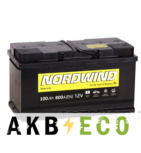 Автомобильный аккумулятор Nordwind 100R 800А 353x175x190