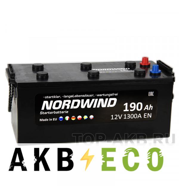 Автомобильный аккумулятор Nordwind 190 рус 1300А 513x223x223