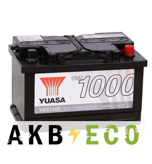 Автомобильный аккумулятор YUASA YBX1000 70R низкий (620А 278x175x175) YBX1100