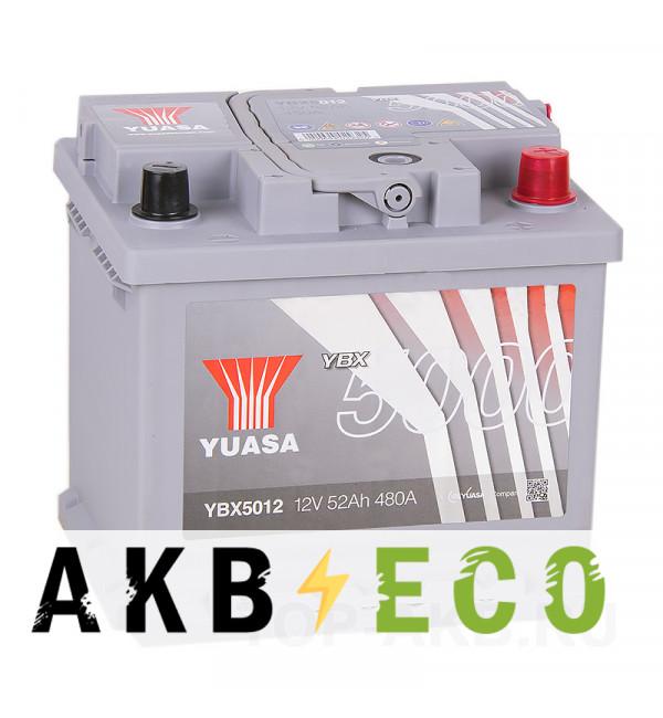 Автомобильный аккумулятор YUASA YBX5000 52R (480А 207x175x190) Silver High Performanse YBX5012