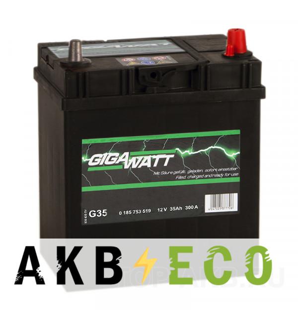 Автомобильный аккумулятор Gigawatt 35R 300A 187x127x227