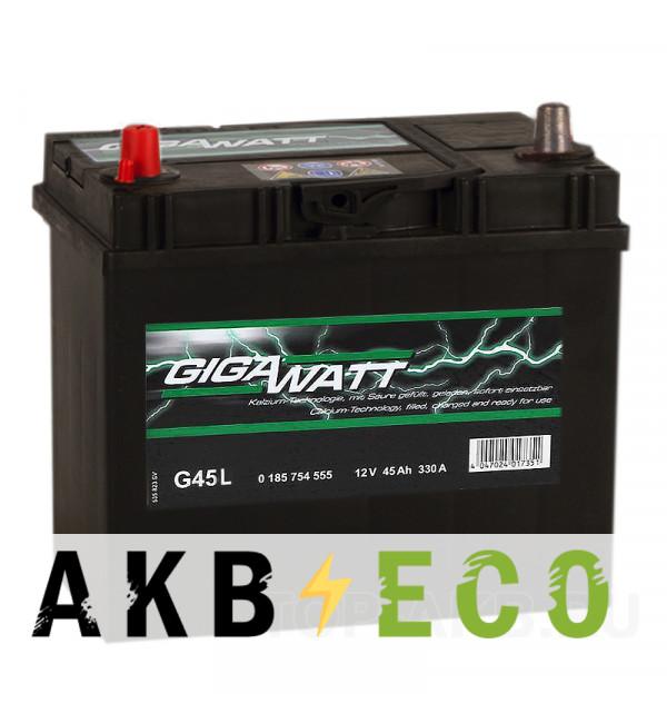 Автомобильный аккумулятор Gigawatt 45L 330A 238x129x227