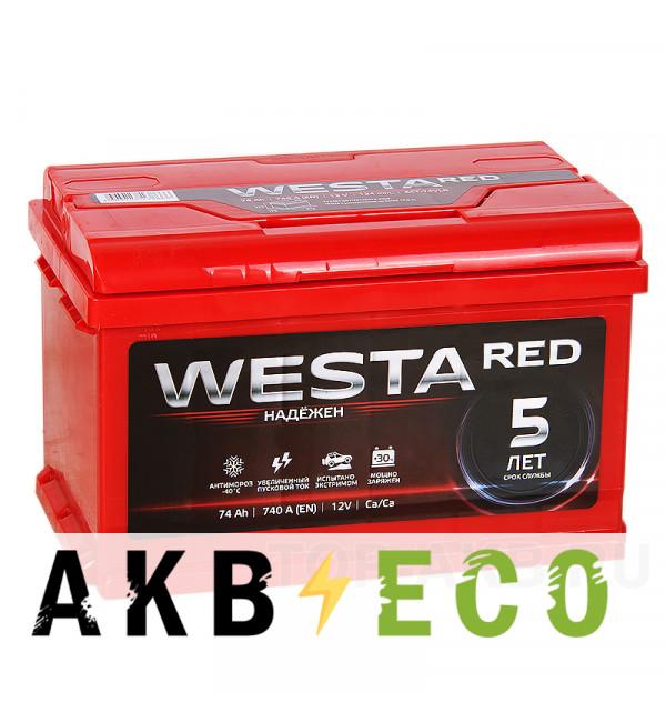 Автомобильный аккумулятор Westa 74R низкий 760A 278x175x175
