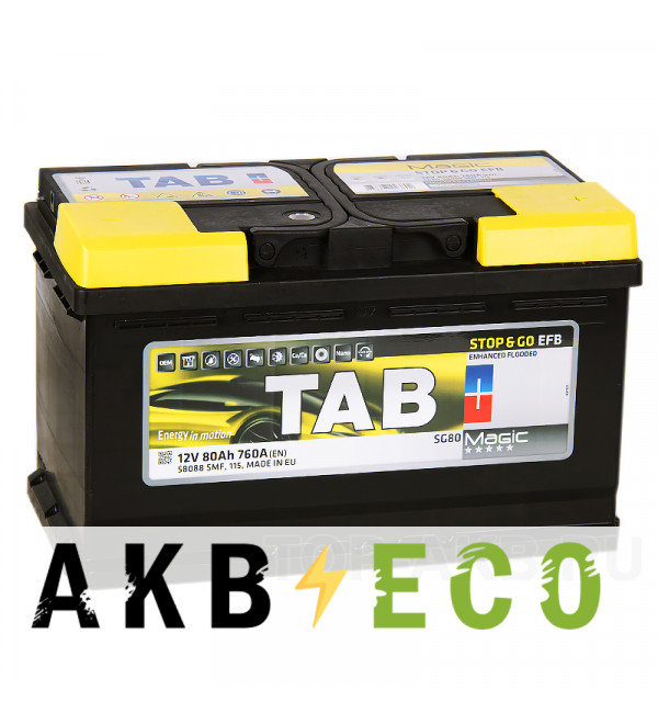 Автомобильный аккумулятор Tab EFB Stop-n-Go 80R (760A 315x175x190) 212080 58088