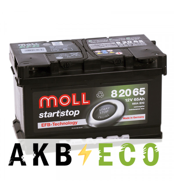 Автомобильный аккумулятор Moll EFB 65R Start-Stop 680A 278x175x175