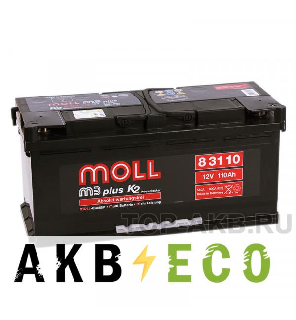 Автомобильный аккумулятор Moll M3plus 110R 900A 394х175х190