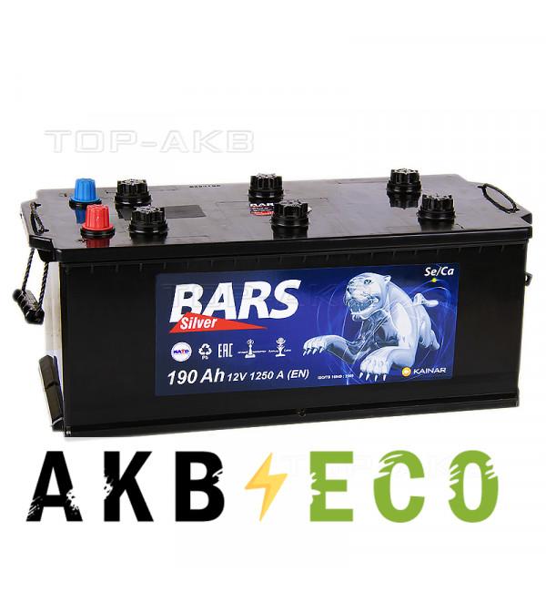 Автомобильный аккумулятор Bars 190 рус 1250A 524x239x240