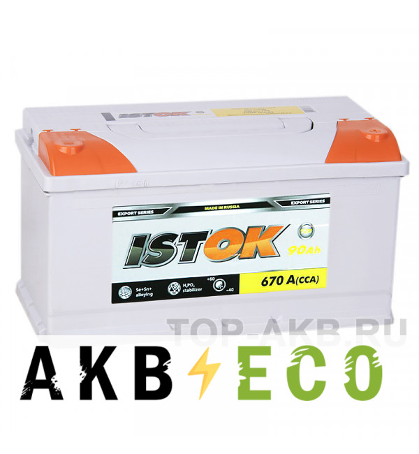 Автомобильный аккумулятор ISTOK 90R 670A (353x175x190)