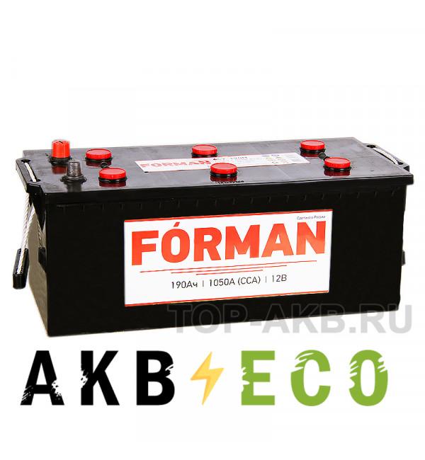 Автомобильный аккумулятор Forman 190 евро 1050А 516x223x223