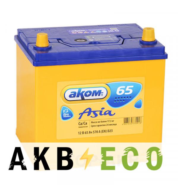 Автомобильный аккумулятор Аком Asia 65R 570A (232x173x225) 65D23L