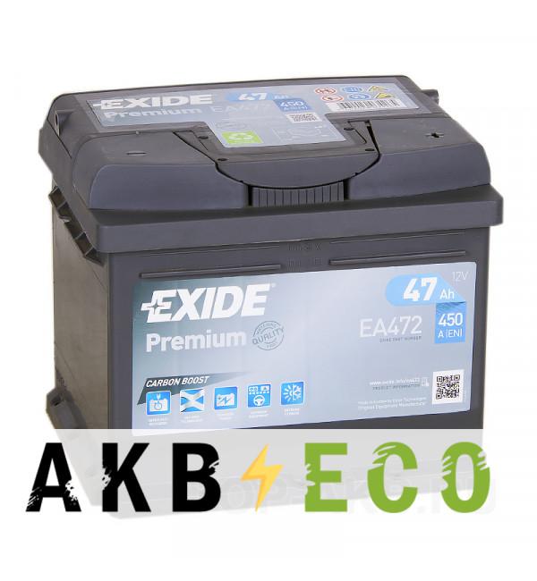 Автомобильный аккумулятор Exide Premium 47R 450A 207x175x175 EA472