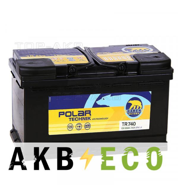 Автомобильный аккумулятор Baren Technik AFB 80Ач обратная пол. (740А 315x175x190) TR740