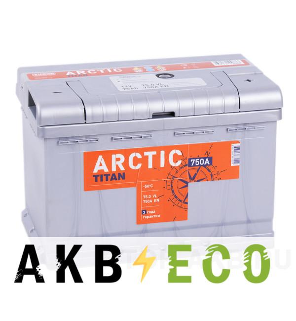 Автомобильный аккумулятор Titan Arctic 75R 750A 278x175x190