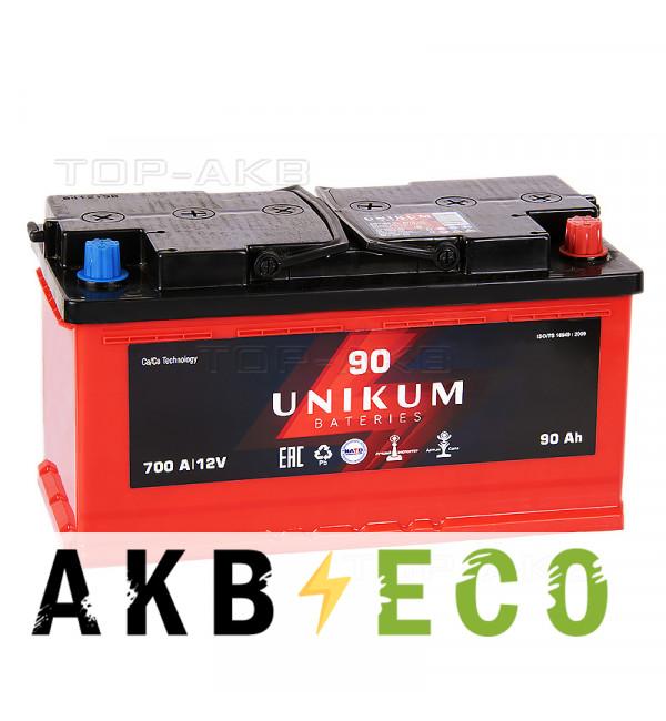 Автомобильный аккумулятор UNIKUM 90R 700A (353x175x190)
