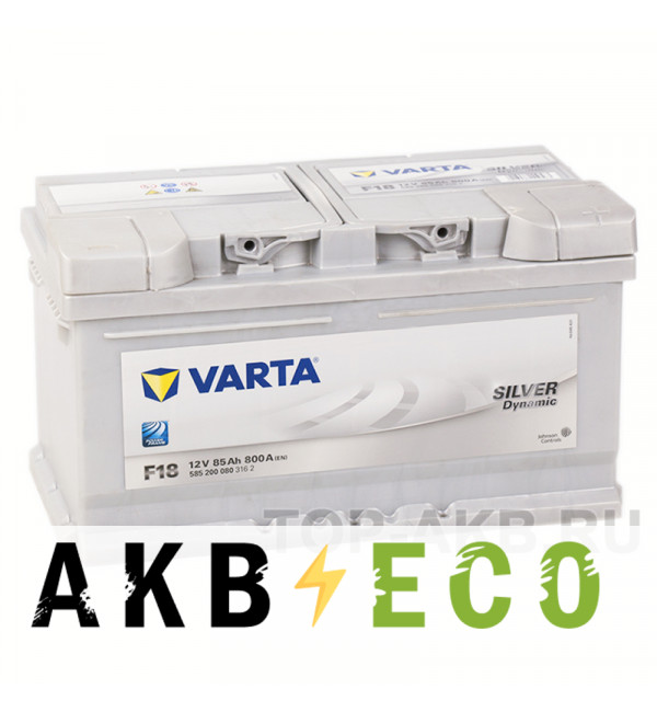 Автомобильный аккумулятор Varta Silver Dynamic F18 85R 800A 315x175x175