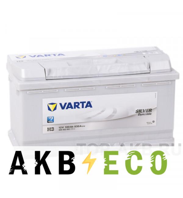 Автомобильный аккумулятор Varta Silver Dynamic H3 100R 830A 353x175x190