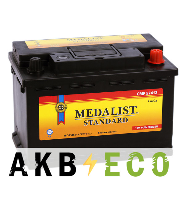 Автомобильный аккумулятор Medalist Standard 57412 (74R 680A 279x175x190)