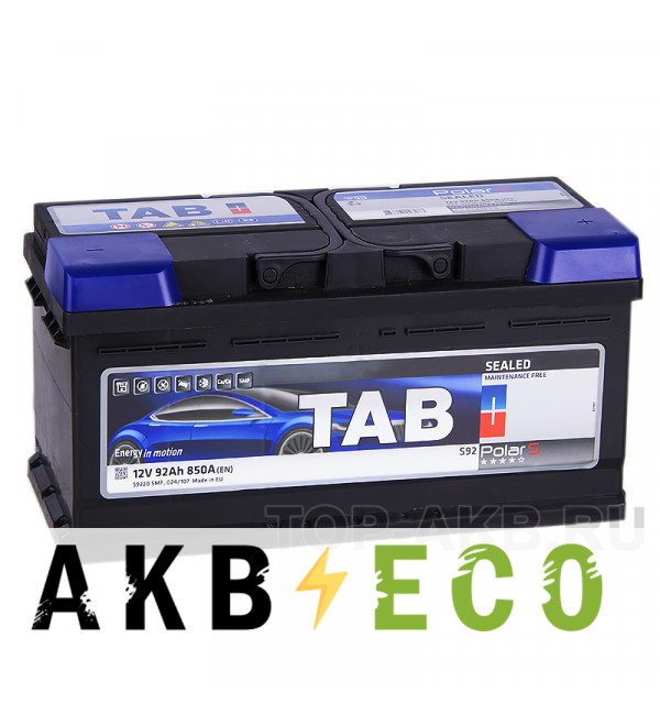 Автомобильный аккумулятор Tab Polar S 92R низкий (800A 353x175x175) 246092 59220