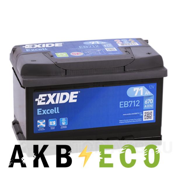 Автомобильный аккумулятор Exide Excell 71R (670A 278x175x175) EB712