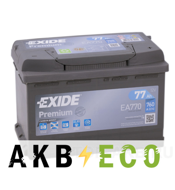 Автомобильный аккумулятор Exide Premium 77R (760А 278х175х190) EA770