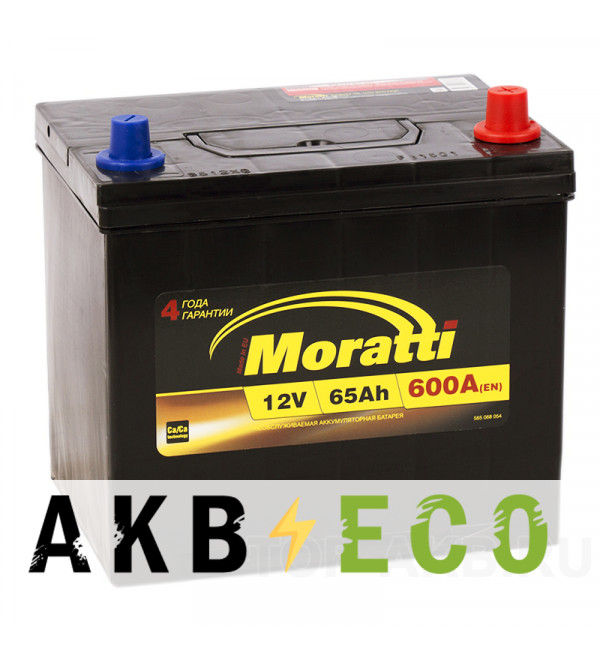 Автомобильный аккумулятор Moratti Asia 65R 600А 232x173x225 D23L