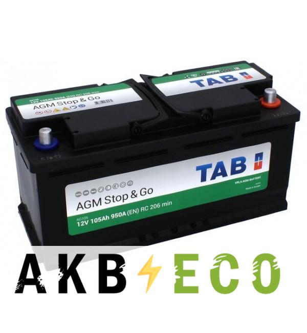 Автомобильный аккумулятор TAB AGM Stop-n-Go 105R (950A 393x175x190) 213105