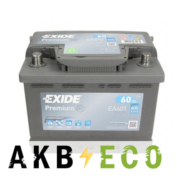 Автомобильный аккумулятор Exide Premium 60L (600А 242х175х190) EA601