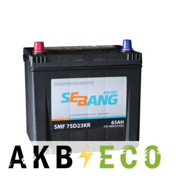 Автомобильный аккумулятор Sebang 75D23KR 65 Ач прям. пол. 580А (232x173x225)