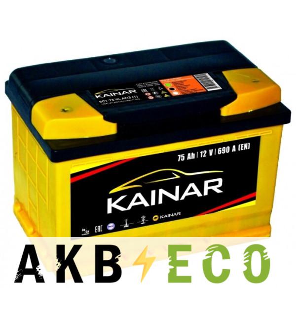 Автомобильный аккумулятор KAINAR 75 Ач прям. пол. 690А (278x175x190)